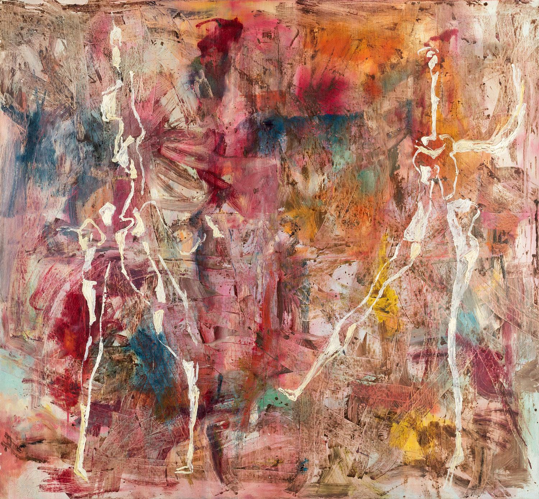 Thomas Gatzemeier Tanz auf Abstrakt 1992 Öl auf Leinwand 125 x 135 cm