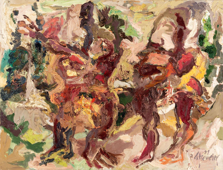 Thomas Gatzemeier Zwei Figuren im Walde 1989 Öl auf leinwand 100 x 130 cm