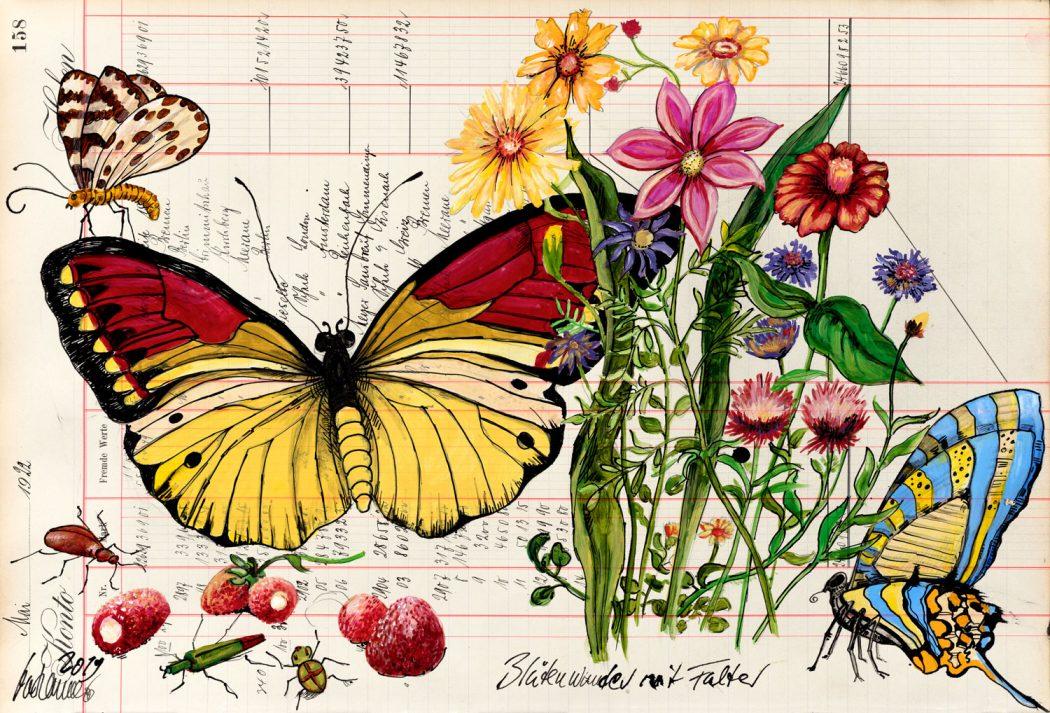 Thomas-Gatzemeier-Blütenwunder-mit-Falter-2019-Acryl,-Tusche-auf-Kontopapier-32,-7-x-48,5-cm