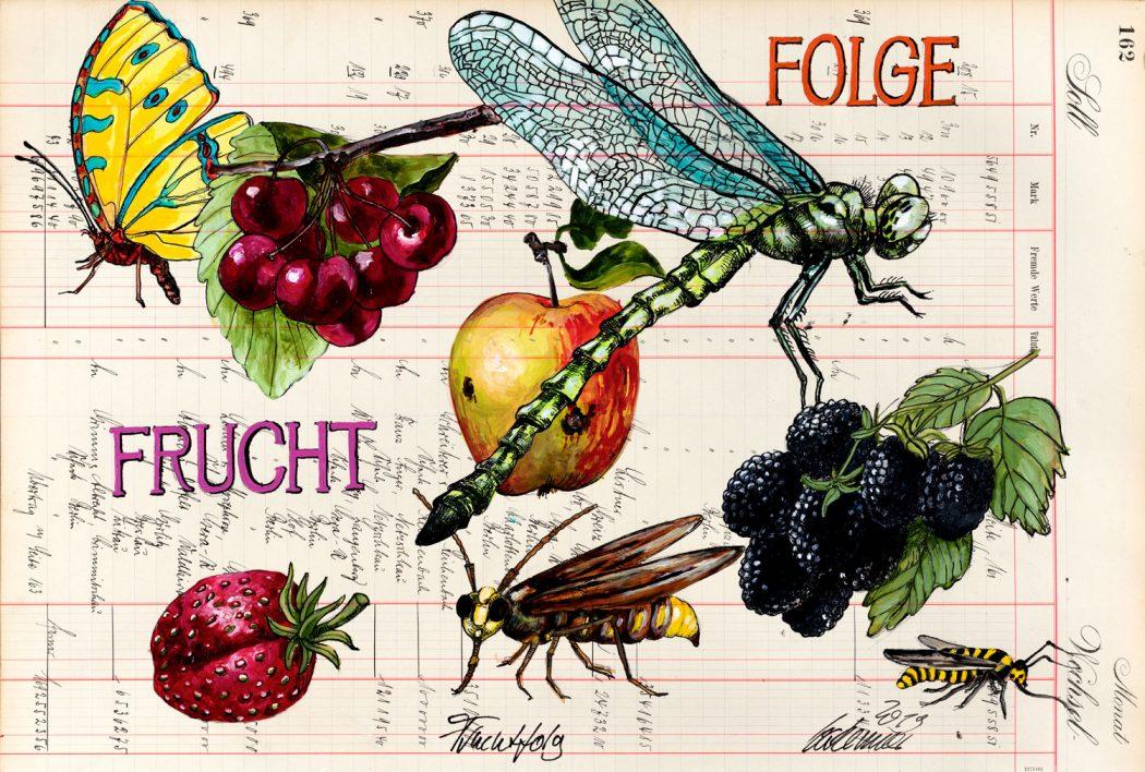 Thomas-Gatzemeier-Fruchtfolge-2019-Acryl,-Tusche-auf-Kontopapier-32,-7-x-48,5-cm