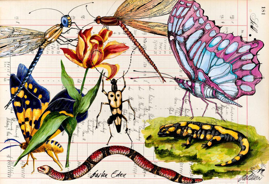 Thomas-Gatzemeier-Garten-Eden-2019-Acryl,-Tusche-auf-Kontopapier-32,-7-x-48,5-cm
