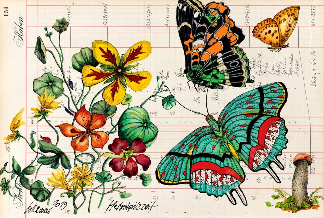 Thomas-Gatzemeier-Herbstpilzzeit-mit-Falter-2019-Acryl,-Tusche-auf-Kontopapier-32,-7-x-48,5-cm