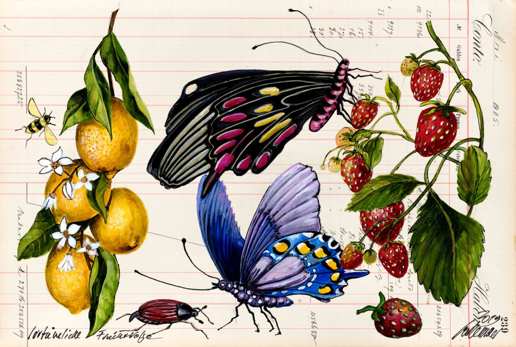 Thomas-Gatzemeier-Irrtümliche-Fruchtfolge-2019-Acryl,-Tusche-auf-Kontopapier-32,-7-x-48,5-cm