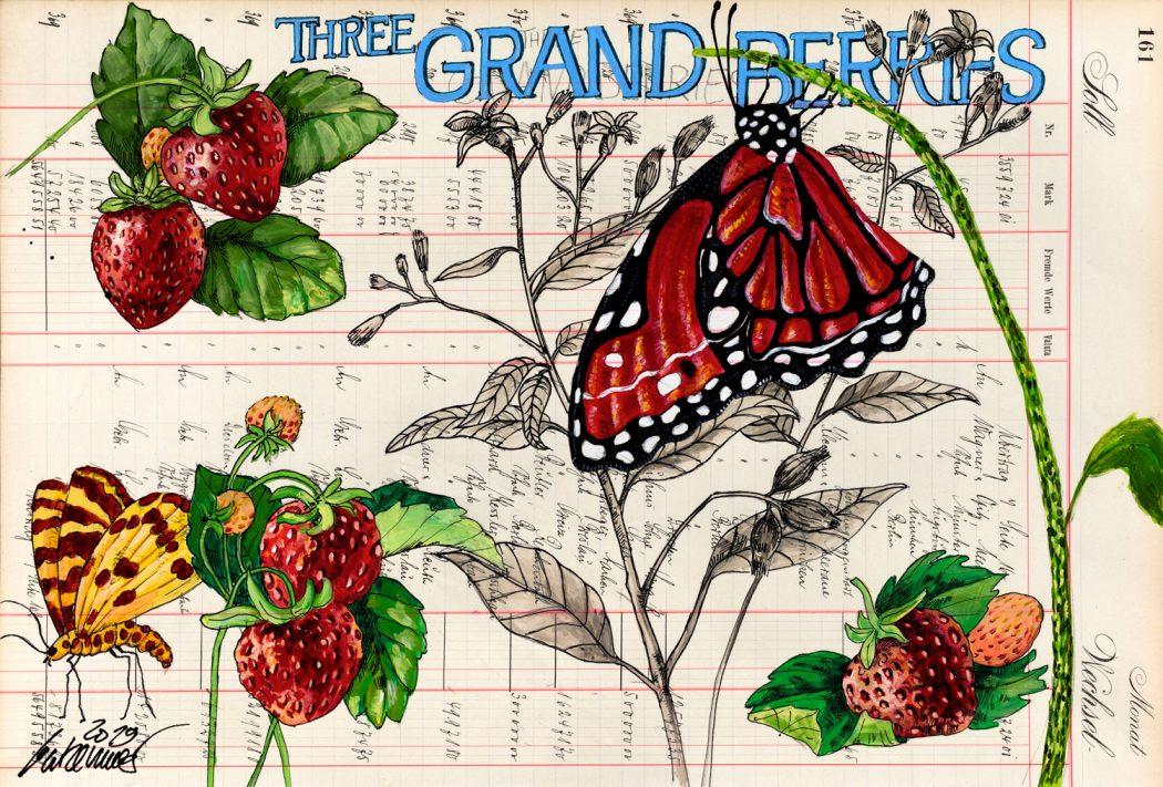Thomas-Gatzemeier-Tree-Grand-Berries-2019-Acryl,-Tusche-auf-Kontopapier-32,-7-x-48,5-cm