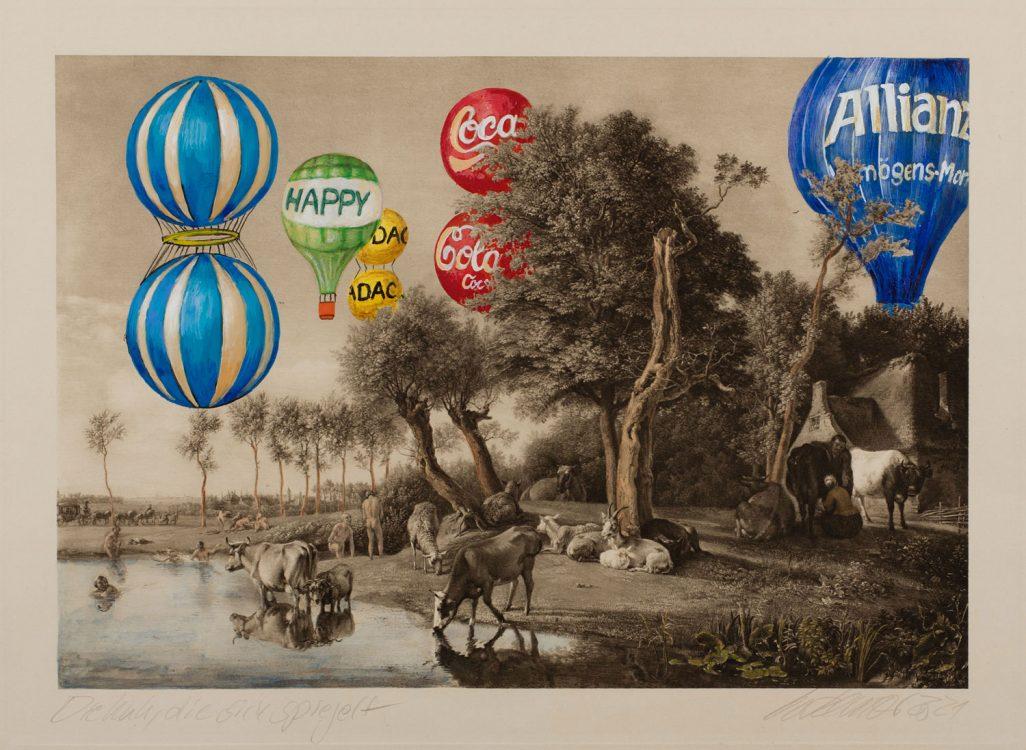 Thomas Gatzemeier 2021 Die Kuh, die sich spiegelt ist eine surreale Malereicollage auf Heliogrvüre. Landschaft mit bunten Heißluftballons.