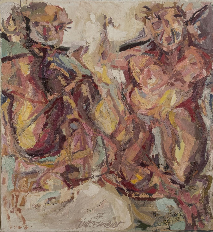 Das Gemälde von Thomas Gatzemeier Zwei Frauen von 1987 Öl auf Leinwand mit den Maßen 130 x 120 cm ist aus seiner gestisch-figürlichen Werkgruppe der frühen Karlsruher Jahre